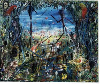 'Terror Nullius' (part II) by Gordon Syron, oil on canvas, 1997. ANMM Collection 00031858.
