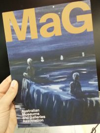 Cover of AMAGA mag featuring detail of painting by Grodon Syron (c) Syron